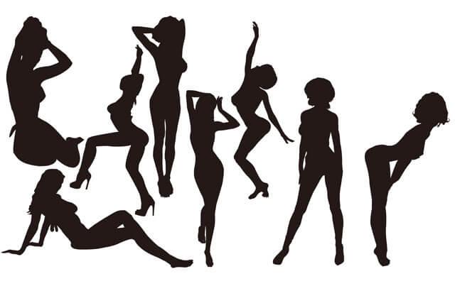 色々な女性のシルエットのイメージ